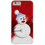 Navidad feliz del muñeco de nieve del canto funda de iPhone 6 plus barely there