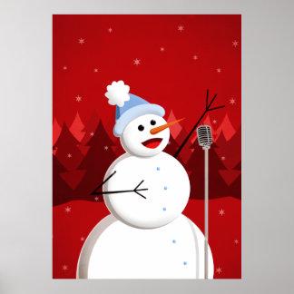 Navidad feliz del muñeco de nieve del canto posters