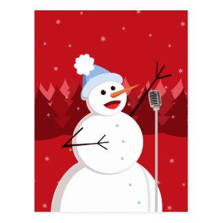 Navidad feliz del muñeco de nieve del canto postales