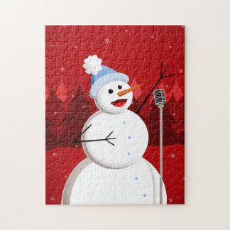 Navidad feliz del muñeco de nieve del canto puzzle