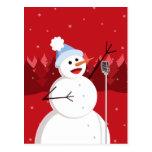 Navidad feliz del muñeco de nieve del canto tarjeta postal