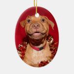 Navidad feliz del perrito del pitbull adorno navideño ovalado de cerámica