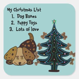 Navidad feliz del perrito pegatina cuadrada
