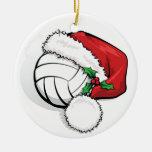 Navidad feliz del voleibol del día de fiesta adorno navideño redondo de cerámica