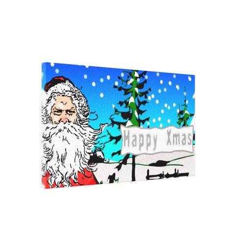 Navidad feliz lienzo envuelto para galerías