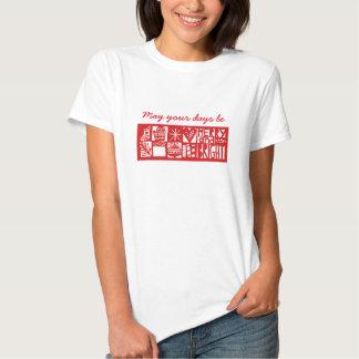 Navidad feliz y camiseta brillante playera