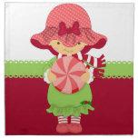 Navidad femenino rosado servilleta imprimida