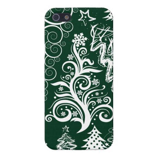 Navidad festiva de los árboles de navidad del verd iPhone 5 coberturas