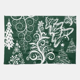 Navidad festiva de los árboles de navidad del verd toallas de mano