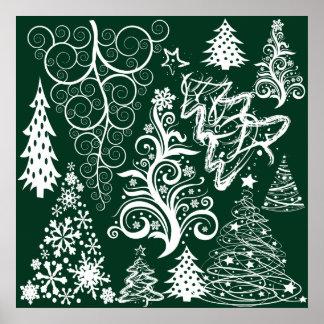 Navidad festiva de los árboles de navidad del verd póster