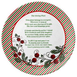 Navidad festivo de la familia y de los amigos que plato de cerámica
