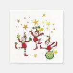 Navidad festivo de los duendes servilleta de papel