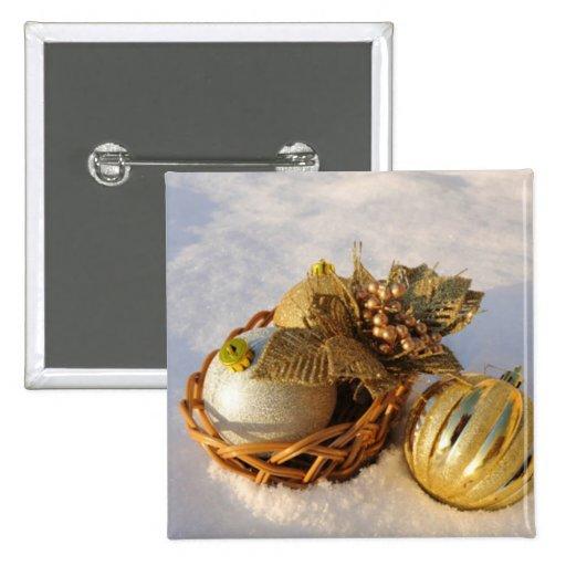 Navidad festivo del oro pin cuadrada 5 cm