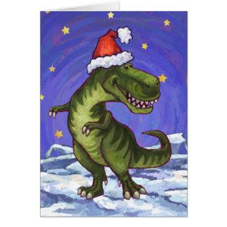 Navidad festivo del Tyrannosaurus Tarjeta Pequeña