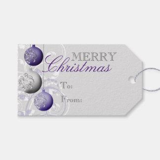 Navidad festivo púrpura y de plata etiquetas para regalos