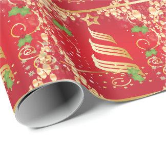 Navidad festivo rojo de oro hermoso papel de regalo