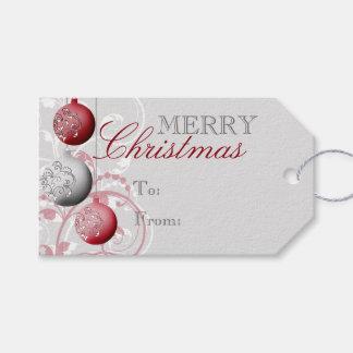 Navidad festivo rojo y de plata etiquetas para regalos