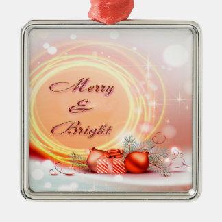 Navidad festivos amarillos rojos Felices y Adorno Navideño Cuadrado De Metal