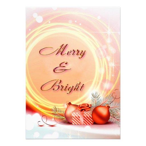Navidad festivos amarillos rojos Felices y brillan Invitacion Personal