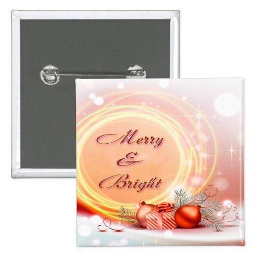 Navidad festivos amarillos rojos Felices y brillan Pins