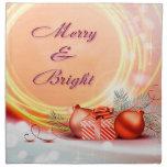 Navidad festivos amarillos rojos Felices y brillan Servilletas