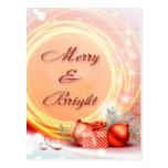 Navidad festivos amarillos rojos Felices y brillan Tarjetas Postales