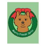 Navidad finlandés del perro de Pomerania Tarjeta Postal