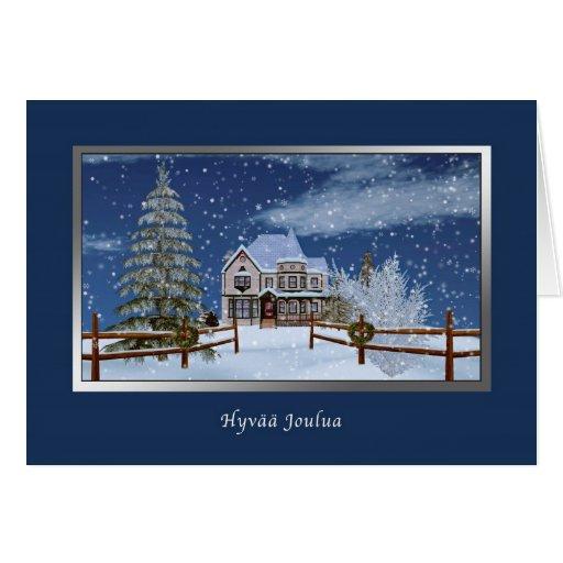 Navidad, finlandés, Hyvää Joulua Tarjetas
