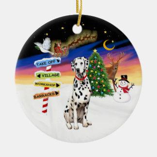 Navidad firma - Dalmatian - el cuello rojo Adorno Redondo De Cerámica