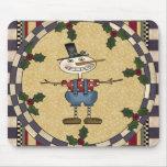 Navidad flaco Mousepad del muñeco de nieve Tapete De Ratones