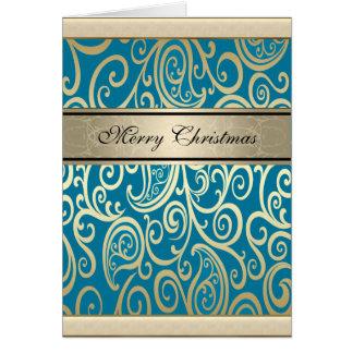 Navidad floral del oro del trullo del vintage de tarjeta de felicitación