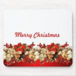 Navidad floral rojo de lujo tapete de ratones