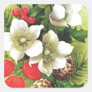 Navidad, flores y bayas del vintage pegatina cuadrada