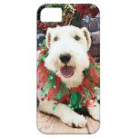 Navidad - fox terrier - Annie iPhone 5 Carcasas
