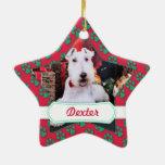 Navidad - fox terrier del alambre - Dexter Adorno De Cerámica En Forma De Estrella
