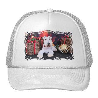 Navidad - fox terrier del alambre - Dexter Gorros Bordados