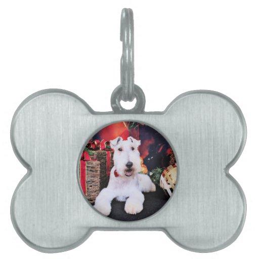 Navidad - fox terrier del alambre - Dexter Placa De Mascota