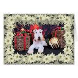 Navidad - fox terrier del alambre - Dexter Tarjeta De Felicitación