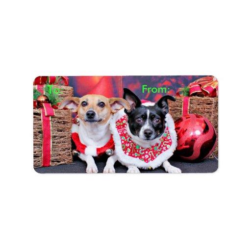 Navidad - fox terrier - Sadie y Natalie Etiqueta De Dirección