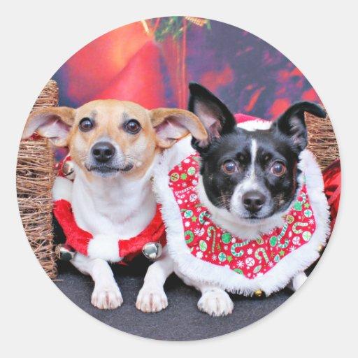 Navidad - fox terrier - Sadie y Natalie Pegatina Redonda