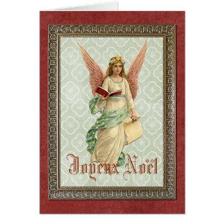 Navidad francés del vintage que saluda en rojo tarjeta de felicitación