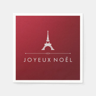 Navidad francés rojo y torre Eiffel de Joyeux Noel Servilleta Desechable