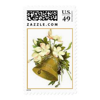 Navidad franqueo de Bell de oro del vintage y de l