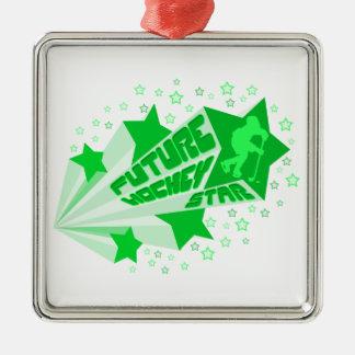 Navidad futuro Oranment de la estrella del hockey Adorno Navideño Cuadrado De Metal