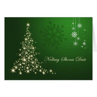 Navidad gaélico irlandés árbol chispeante del oro tarjeta