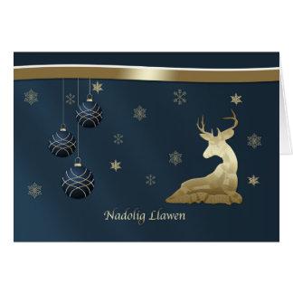 Navidad, Galés, ciervo de oro, copos de nieve Tarjeta De Felicitación