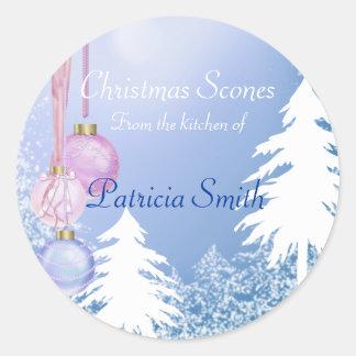 Navidad galleta, caramelo, etiquetas de los dulces pegatinas redondas