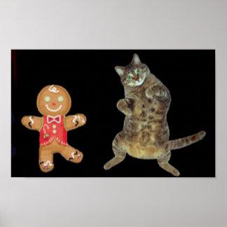 Navidad galleta y danza del gato de tabby póster
