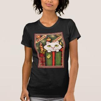 Navidad gatito y camiseta blancos de los regalos
