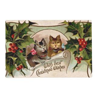 """Navidad """"gatitos del vintage del acebo """" tapete individual"""